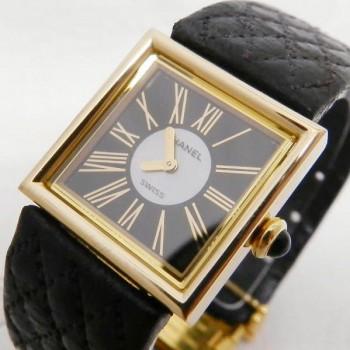 CHANEL シャネル マドモアゼル K18YG×革 文字盤 ブラック×シェル レディース腕時計