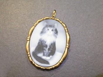 カメオ ネックレストップ 猫