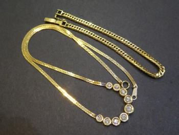 K18 ダイヤ付きネックレス K18喜平ブレスレット