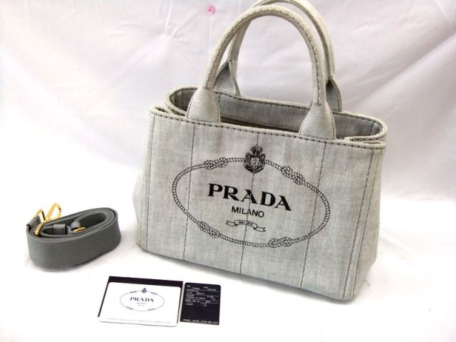 PRADA ミニ カナパ 2way トートバッグ キャンバス 1BG439